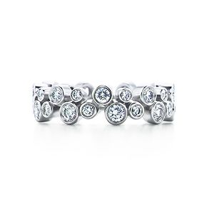 Tiffany Bubbles band ring. Diamonds, platinum.