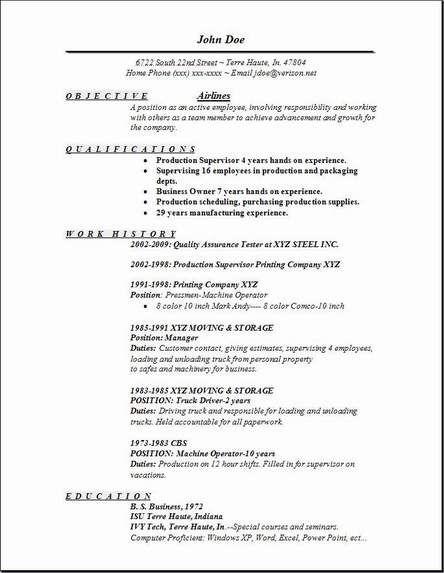 Flight Attendant Sample Resume