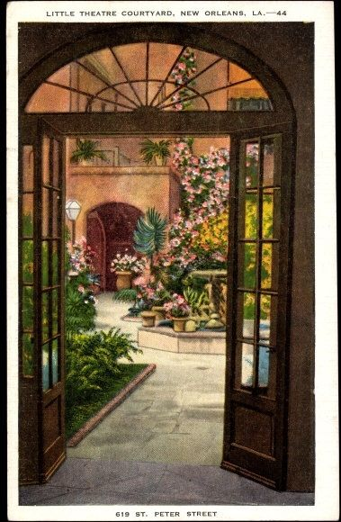 New Orleans, #23039 LITTLE THEATRE COURTYARD, Near Mint. Natural Color Real Photo Postcard by RareVintageByMichele on Etsy https://www.etsy.com/listing/477169846/new-orleans-23039-little-theatre