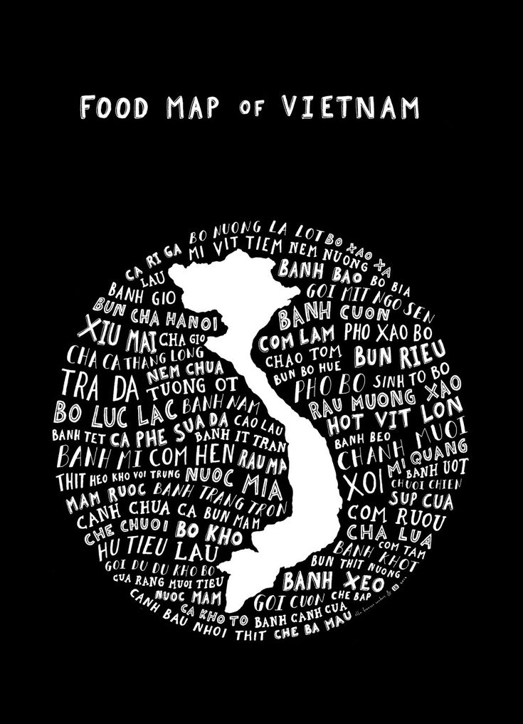 Beautiful, one-of-a-kind typographic map of Vietnam's foods, arranged around the shape of the country itself. From banh mi to pho to bun rieu, this poster highlights the dishes that make Vietnamese cu