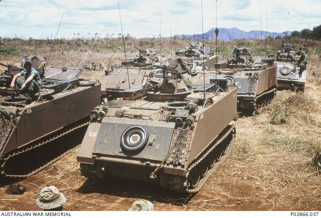 Nui Dat, South Vietnam, 1970-5. Australian M113 armoured personnel carriers (APC) preparing to transport soldiers of 2RAR during operation Abbercorn. Donor: I Kuring.