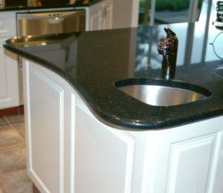 Curved counter edge & triangular shaped prep sink