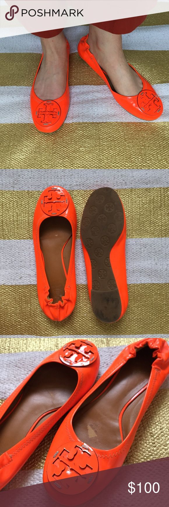 Tory Burch Patent Leather Ballet Flat Bright orange patent leather ballet flat. Very comfortable with stretchy heel to prevent blisters. A little wear on the inside of soles due to sticky inserts. Zigzag stitch detailing with Tory Burch emblem. Tory Burch Shoes Flats & Loafers