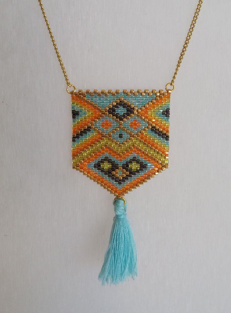 Sautoir, collier long, bijou tissé, perles miyuki, multicolore, style moderne…