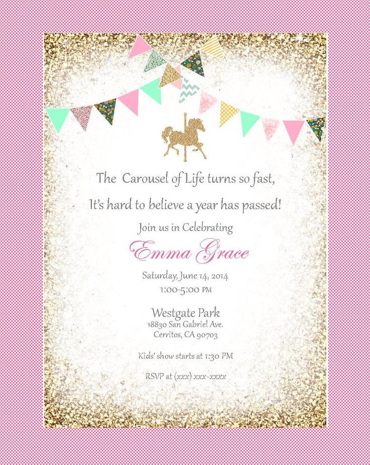 Carousel birthday invitation, red, mint, green, pink, gold, blue, gold bunting. Printable, DIY. Birthday, bridal shower, baby shower. by FiestaBella on Etsy https://www.etsy.com/listing/184598955/carousel-birthday-invitation-red-mint