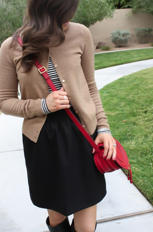 Tan Cashmere Cardigan, Black Wool Mini, Striped Tee, Tall Black Boots, Red Crossbody Bag, J.Crew, Banana Republic, J.Crew Factory, Loeffler Randall, Chloe 8
