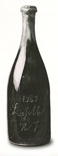 Drawing of a 1787 bottle of Château Lafite Rothschild wine, with the engraved signature of Thomas Jefferson, created for Rarities Magazine.