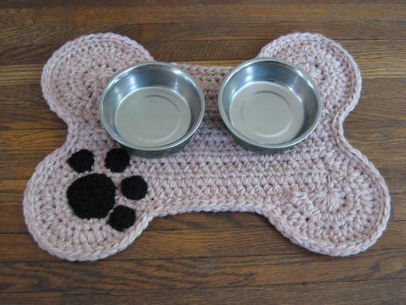 Crochet Pattern Dog Bone Placemat Pet Food Bowl Floor Mat Etsy Placemats Patterns Crochet Dog Crochet Rug