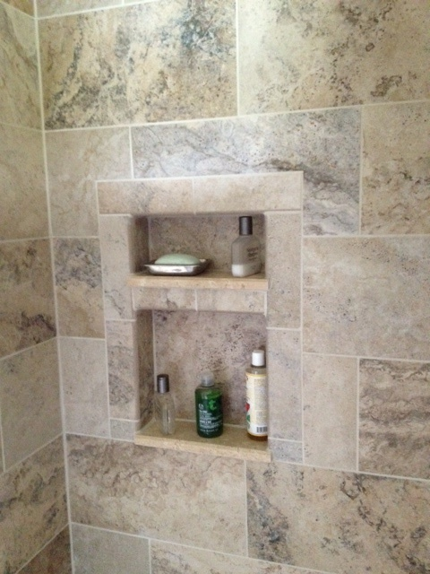 Tiled Shower Cutouts Shower Remodel Kitchen Bath Decor