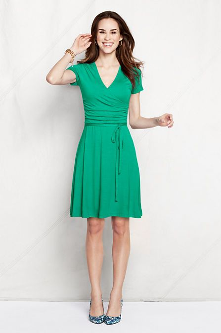 Love wearing green in the Spring/Summer. Women's Knit Shirred Surplice Dress from Lands' End