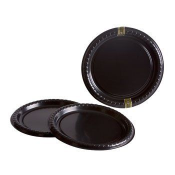 "11½"" Round Black Plastic Serving Trays, 2-ct. Pack"