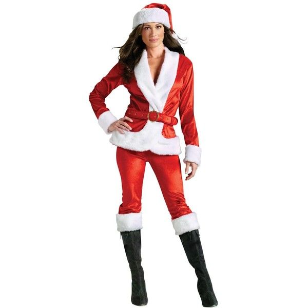 Mrs. Santa Suit Adult Costume ($49) ❤ liked on Polyvore featuring costumes, halloween costumes, adult santa costume, santa costume, adult halloween costumes, santa claus halloween costume and adult costumes