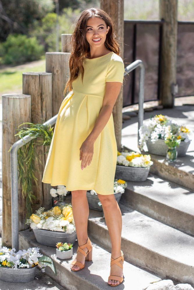 17a5aa78c6 Yellow Basic Pleated Skirt Maternity Dress in 2019 | Maternity ...