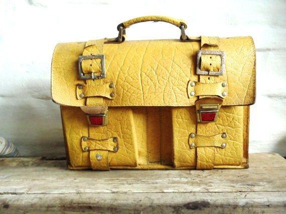 Danish Vintage Yellow Retro Leather School Bag. $90.00, via Etsy.