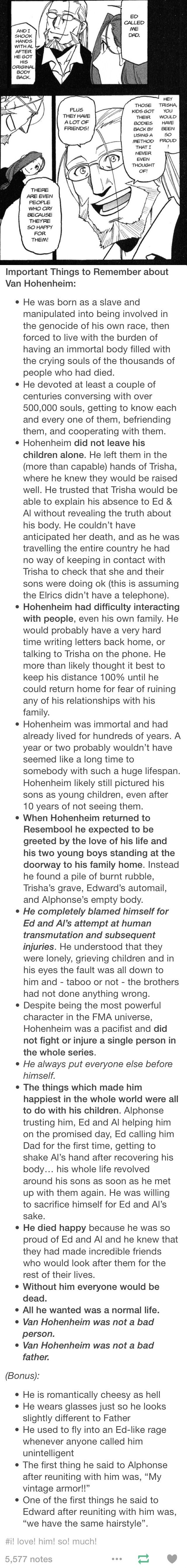 Hohenheim is my is one of my favorite characters and gives me all the feels. Plus he reminds me of my own dad. :)