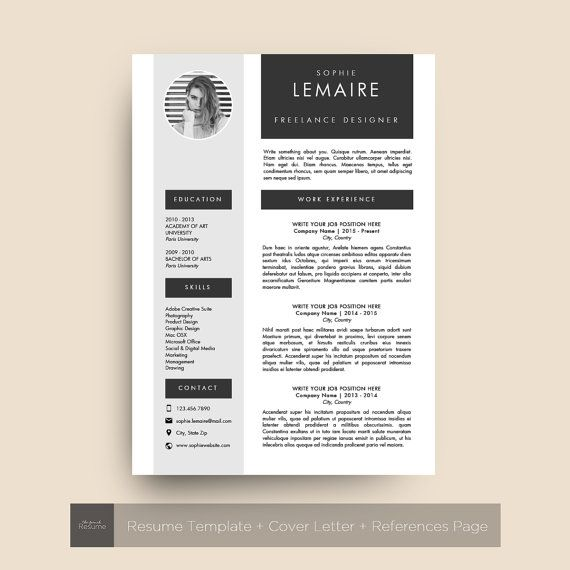 resume template with photo  cv  cover letter  u0026 references