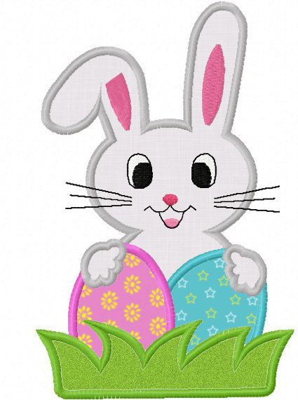 Easter Bunny Egg Applique Machine Embroidery by JoyousEmbroidery, $2.99