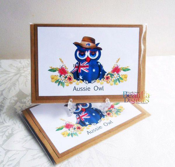 Greeting Card Aussie Owl Hand Drawn Owl Novelty Greeting Card - Aussie Owl
