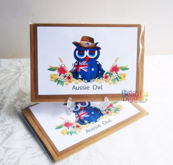 Greeting Card Aussie Owl Hand Drawn Owl Novelty Greeting Card - Aussie Owl
