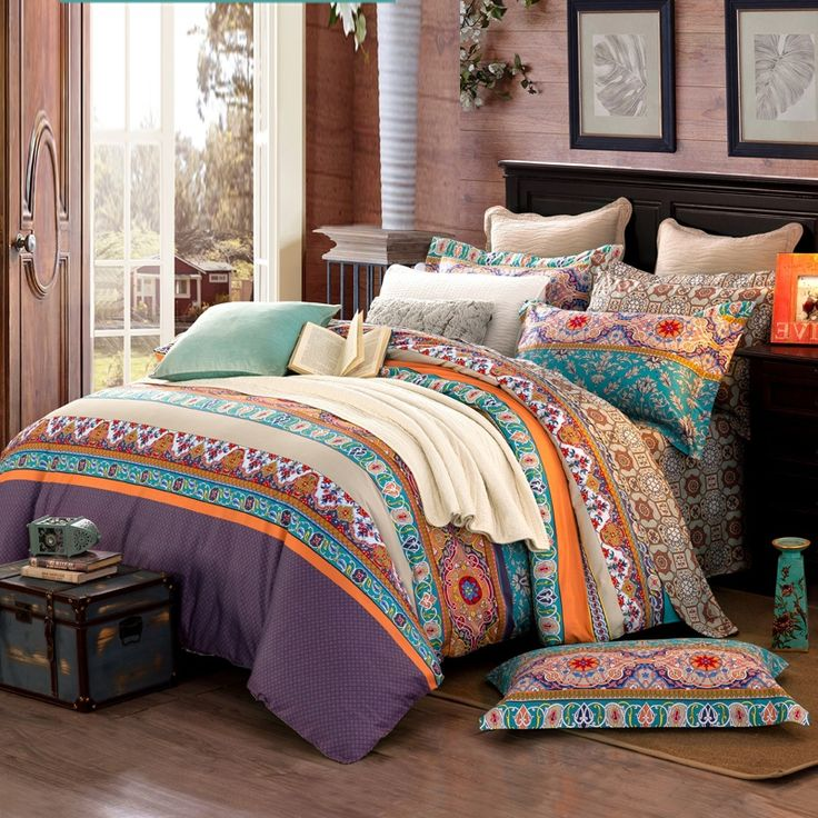 Turquoise Orange and Brown Colorful Stripe and Bohemian Chic Tribal Print Southwestern Style 100% Cotton Full, Queen Size Bedding Sets