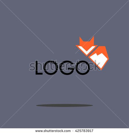 Red Fox logo - vector icon sign symbol - stock vector