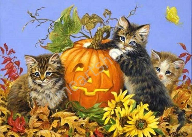 Котята и хэллоуин, картины раскраски по номерам, своими руками, размер 40*50см, цена 750 руб.