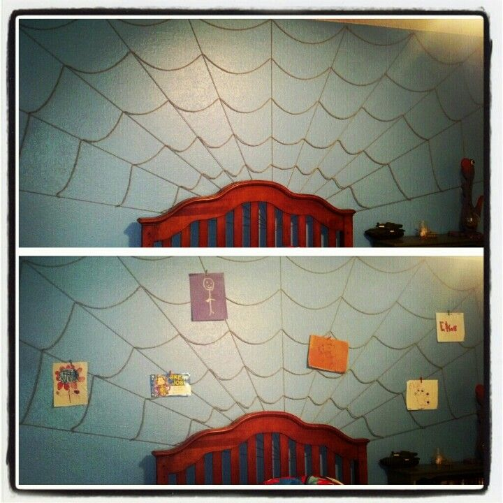 Spiderman web art display... I wanted something in my sons Spiderman room to show off school and art projects. I centered a nail on wall and stretched yarn to each point with tacks... Then sagged and knotted the yarn across. So easy and lots of fun. Took cloths pins to hang art.