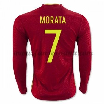 Camisetas De Futbol Barata España 2016 Morata 7 Primera Equipación Manga Larga