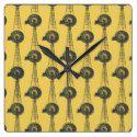 Yellow and Grey Windmill Pattern Square Wallclock