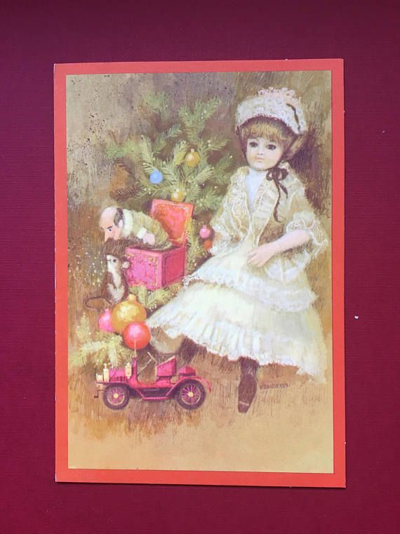 Vintage Doll Collector's Christmas Greeting Card Antique