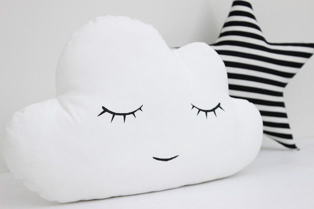 Great decoration for children's room. Cute White Cloud Pillow, Cloud Cushion, Nursery Decor – a unique product by katyaku via en.DaWanda.com