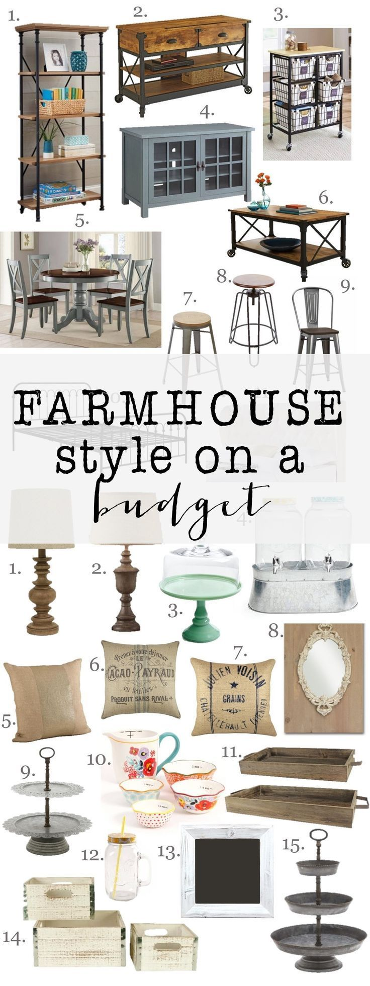 Farmhouse Style on a budget: Amazing farmhouse furniture and decor at incredible prices. Decorating doesnt have to be expensive.
