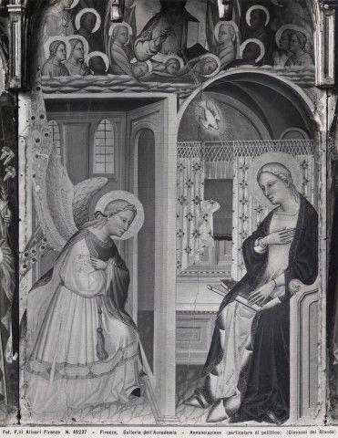 Giovanni del Biondo - Polittico con l'Annunciazione e santi (dettaglio) -  tempera e oro su tavola - 1380-1385 circa - Galleria dell'Accademia a Firenze.