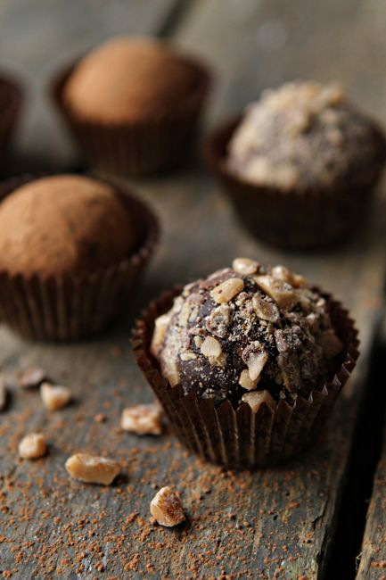 Dark Chocolate Toffee Truffles // Dark Chocolate Morsels, heavy cream, vanilla extract, toffee bits
