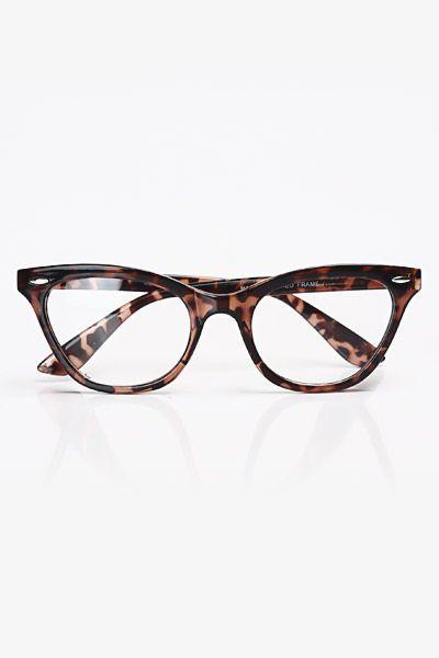 Solid Frame Clear Cat Eye Glasses - Tortoise #1030-1