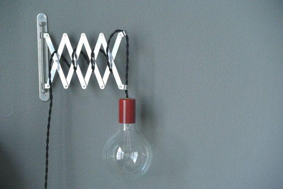 Bare Bulb Accordion Swing Arm Wall Light CUSTOM by pepeandcarols, $57.99