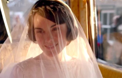 Mary on her way to the church on Downton Abbey Season 3 Episode 1