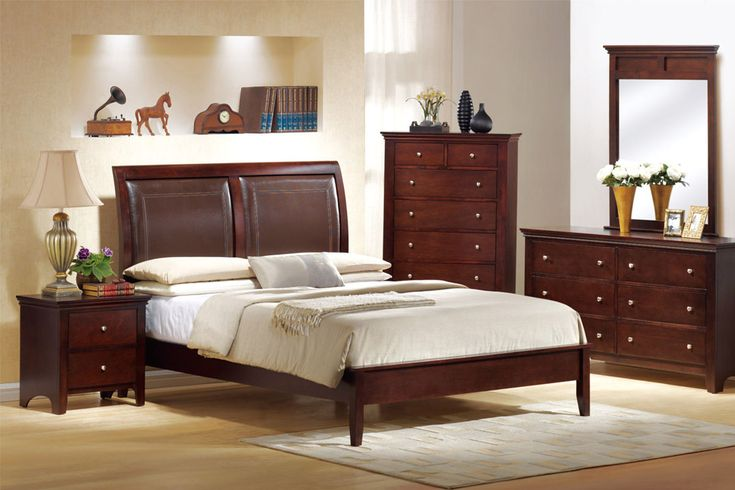 Wood Decorating Ideas for Astonishing White and Beige Themed Bedroom with Elegant Dark Brown Wood Bed Frame that have White Mattress and Simple Brown Wood Bedside Table on the Light Brown Wood Flooring that have Vintage Table Lamp