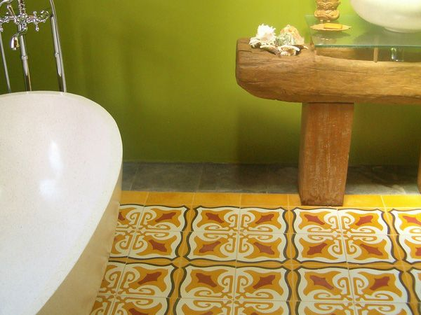 Patterned Tiles In The Center Of Room With Border    Indian Tiles Bathroom Part 54