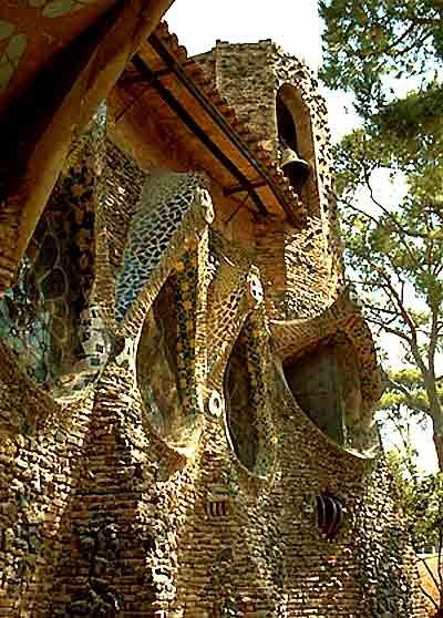 Colonia Güell's Church exterior, Barcelona, Spain;  Antoni Gaudi