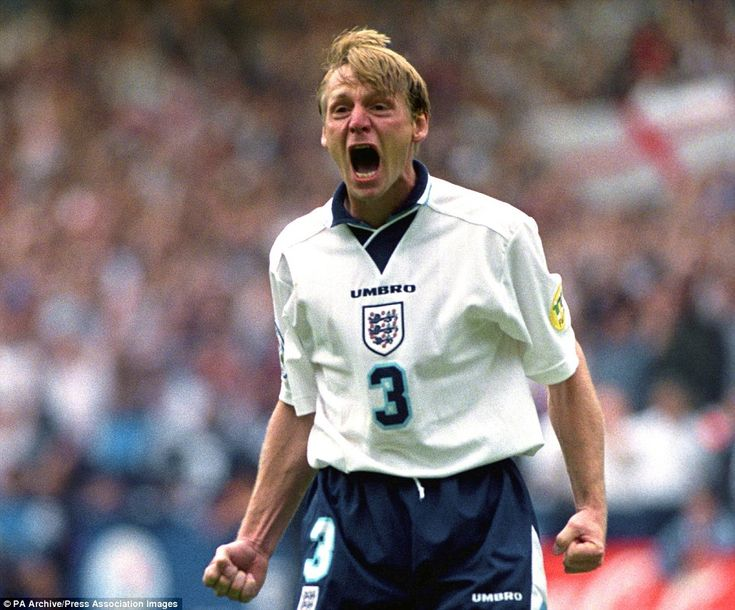 Stuart Pearce exorcising the ghost of penalties past during England's shoot-out against Spain.