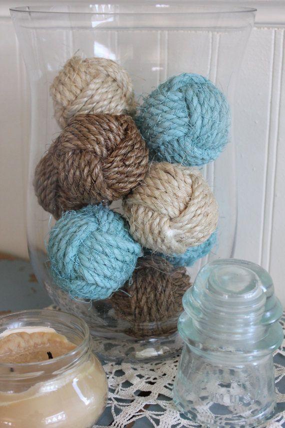 Nautical blue rustic rope balls - beach house decor - monkey fist knots - set of 10 small knots - custom painted knots - rope knot decor