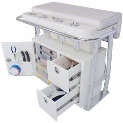 Leaning post storage, center console boat storage ideas, tackle storage ideas, tackle organizer