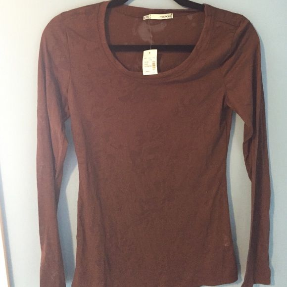 Brown Long Sleeve top Brown long sleeve,thin material. Has a design in the fabric. New with tags Maurices Tops Tees - Long Sleeve