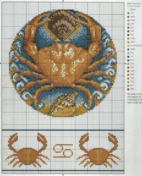 Borduurpatroon Sterrenbeeld Kruissteek *X-Stitch Pattern Zodiac ~Serie 4-7: Kreeft 22-06/23-07 *Cancer~
