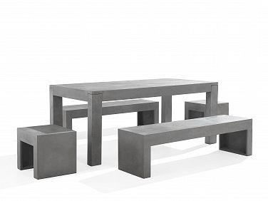Zestaw mebli ogrodowych – Beton – Stoł 2 ławki 2 krzesła - TARANTO