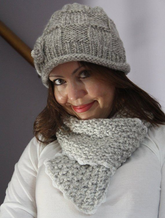 Light Gray Beanie Knit Hat And Matching Scarf Crocheting And