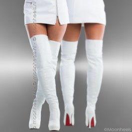 Witte overknee boots met rode zool en plateau