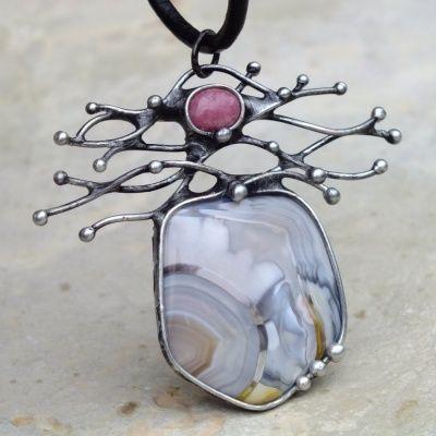 Větvičkování - náhrdelník s růžovým achátem
