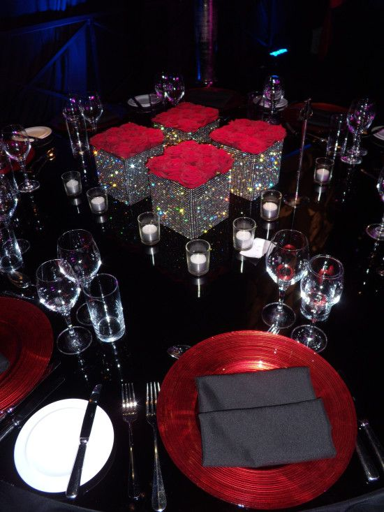 Red black wedding☻ centerpieces bring on the bling